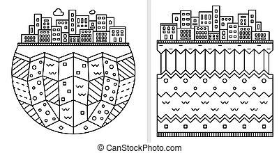 couches, ville, linéaire, plat, simple, isolé, illustration, silhouette., arrière-plan., mince, icon., design., earth., blanc, dessin animé, illustration.