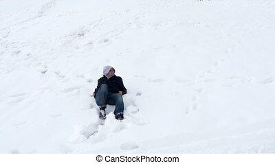 "couchez-vous, neige, ""happy, blanc, background"", mensonge, homme"