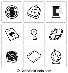 CouchSurfing icons set. Vector Illustration