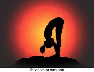 coude, arrière-plan soleil, yoga, en avant!, pose