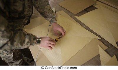 coudre, menuiserie, processus, préparation, montage, plus loin, placage, meubles
