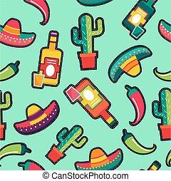 coudre, pièces, mexique, modèle, icônes, seamless