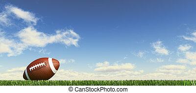 couds, fondo., cielo, velloso, fútbol, nivel, lado, pasto o...