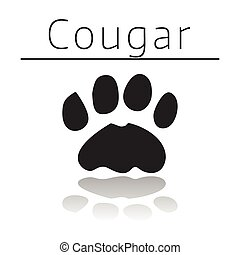 Cougar animal track with name and reflection on white ...