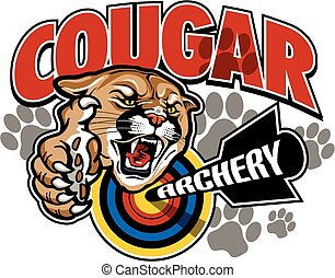 cougar archery team design with mascot and target for...