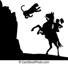 Editable vector illustration of a mountain lion jumping down at a cowboy on horseback