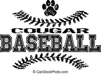 cougar baseball - distressed cougar baseball design with...