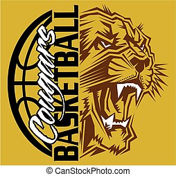 cougar basketball team design with ball and mascot for...