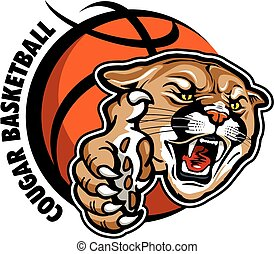 cougar basketball team design with mascot head and large...