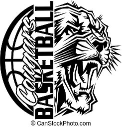 cougar basketball team design with ball and mascot for ...