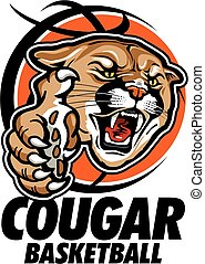 cougar basketball team design with cougar mascot inside ...