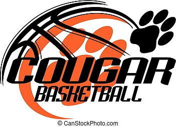 cougar basketball team design with paw print for school, ...