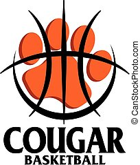 cougar basketball team design with paw print inside large...