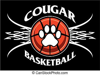 cougar basketball team design with tribal net for school,...