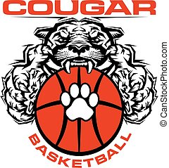 cougar basketball team design with paw print and mascot for...