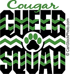 cougar cheer squad with chevrons and paw print