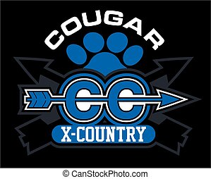 cougar cross country team design with arrow and paw print