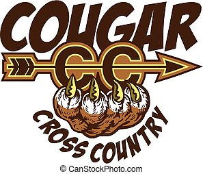 cougar cross country team design with claw for school, ...