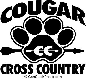 cougar cross country team design with large paw print and...
