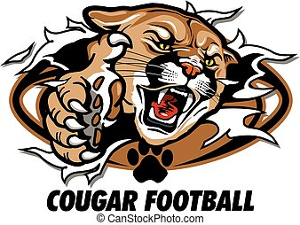 cougar football team design with mascot head ripping through...