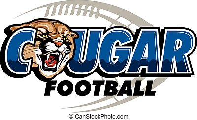 cougar football design with mascot head and football in the background