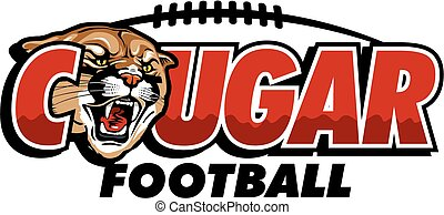 cougar football design with mascot head and football laces