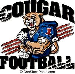 cougar football team design with muscular mascot player for...
