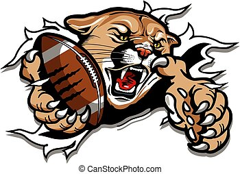 cougar football mascot holding ball in claw ripping through ...