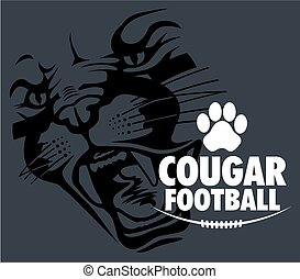 cougar football team design with cougar face for school,...