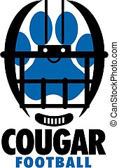cougar football team design with large paw print inside a helmet