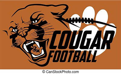 cougar football team design with mascot head for school, ...