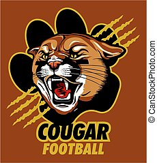 cougar football team design with mascot head inside paw...