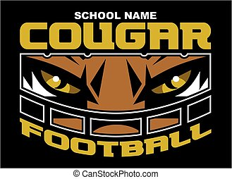 cougar football team design with mascot wearing facemask for...