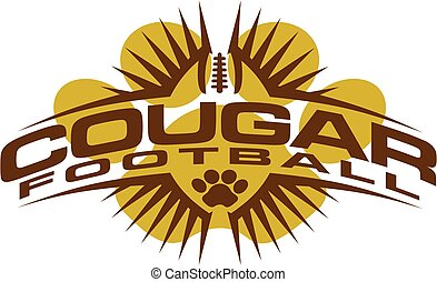cougar football team design with paw print and ball for ...