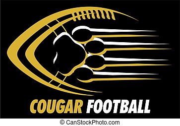 cougar football team design with paw print for school,...