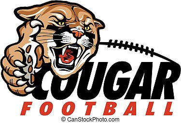 cougar football with mascot head and large claw