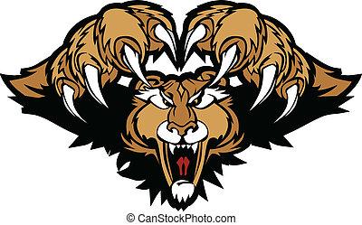 cougar, grafik, puma, mascot, pouncing