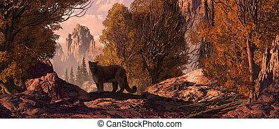 Cougar in a Rocky Mountain landscape. Original illustrative ...
