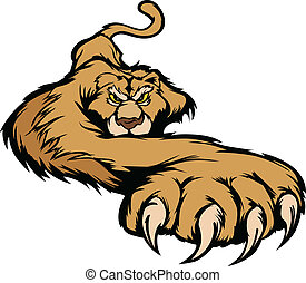 Cougar Mascot Body Prowling Vector - Graphic Mascot Vector...