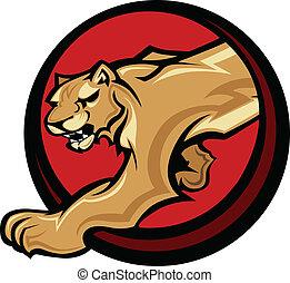 Cougar Mascot Body  Vector Graphic