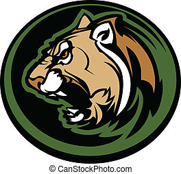 Cougar Mascot Head Vector Graphic