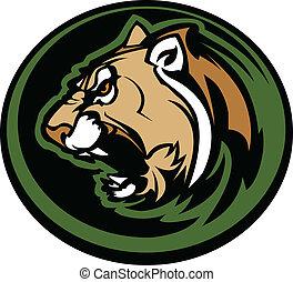 Cougar Mascot Head Vector Graphic - Graphic Mascot Vector...