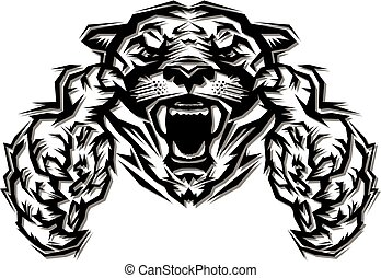 cougar mascot reaching out with claws for school, college or...