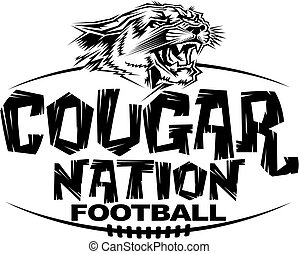 cougar nation football team design with mascot head for school, college or league