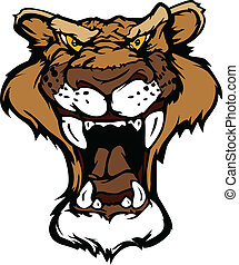 Cougar Panther Mascot Head Vector C - Cartoon Vector Mascot...