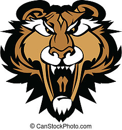 Cougar Panther Mascot Head Vector G - Graphic Vector Mascot...