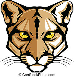 Cougar Panther Mascot Head Vector G