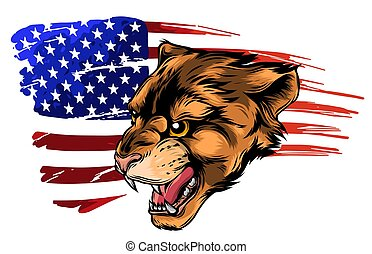 Cougar Panther Mascot Head Vector Graphic art