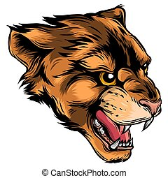 Cougar Panther Mascot Head Vector Graphic illustration
