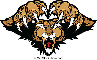 Cougar Puma Mascot Pouncing Graphic